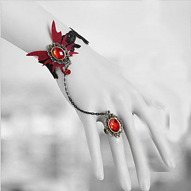 Buy Lolita Jewelry Gothic Vampire Aristocrat Red Butterfly Accessories Set Headpiece/Necklace/Bracelet/Bangle/Earring Lace Men / Women