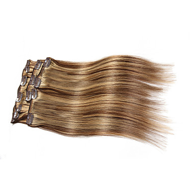 7 pcs set clip in hair extensions piano color mixed brown