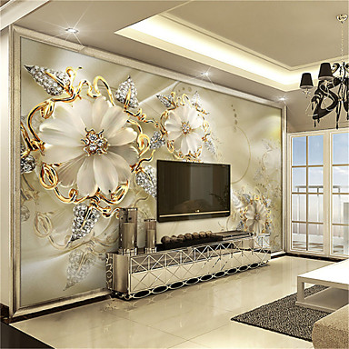 Jammory white jade carving large flower decor 3d fashion for Decoration murale 1 wall