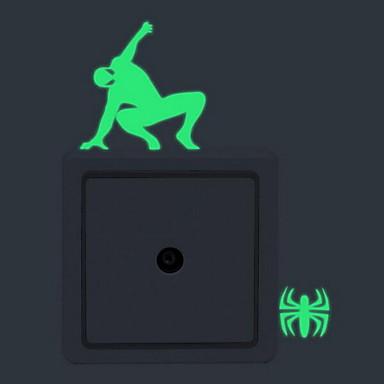 Cartoon Spiderman Luminous Wall Stickers Light Switch StickersVinyl Material Home Decoration