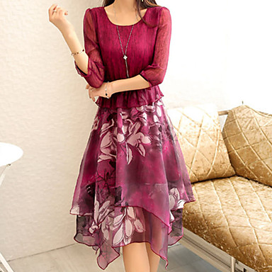 Women's Going out Beach Holiday Cute Street chic Sophisticated Chiffon Dress,Patchwork Round Neck Above Knee ¾ Sleeve OthersPink Red