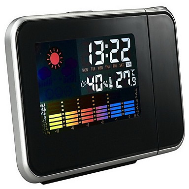 LED Electronic Clock Weather Forecast Projection Clock (Black or White)