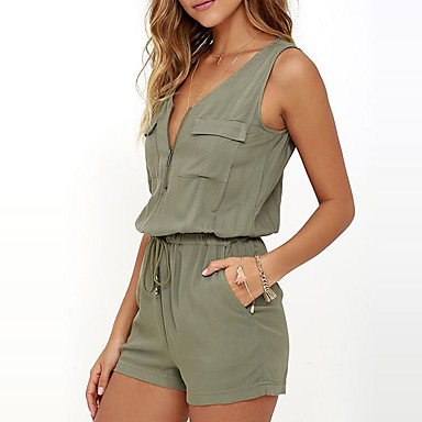 Women's Mid Rise Going out Casual/Daily Rompers,Simple Sexy Slim Solid Summer