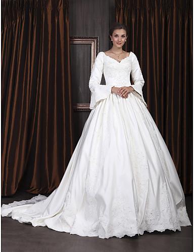 Buy Lanting Bride Ball Gown Petite / Plus Sizes Wedding Dress-Chapel Train V-neck Satin