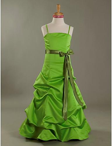 Buy Floor-length Satin Junior Bridesmaid Dress A-line / Princess Spaghetti Straps Natural Bow(s) Pick Skirt Sash Ribbon