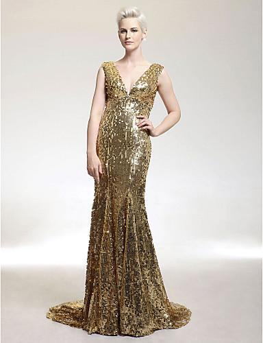 Vestidos longos metalizados
