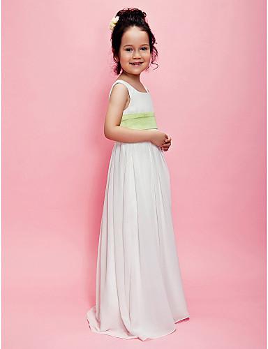 A-Şekilli Kareli Yere Kadar Şifon Çiçekçi Kız Elbisesi  $54.99