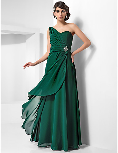 Buy TS Couture® Formal Evening / Military Ball Dress - Dark Green Plus Sizes Petite Sheath/Column One Shoulder Floor-length Chiffon