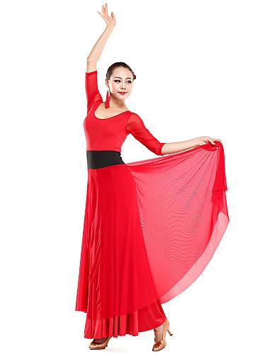 Ballroom dancewear viscose with tulle modern dance dress for ladies