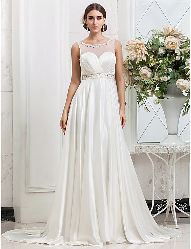 Buy Lanting Bride A-line / Princess Petite Plus Sizes Wedding Dress-Sweep/Brush Train Scoop Charmeuse
