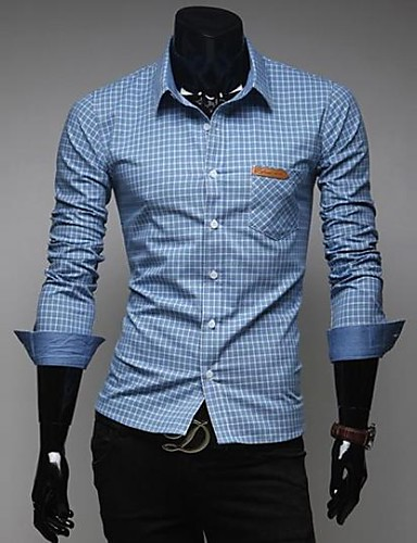 Buy Zian® Men's Shirt Collar Fashion Refinement Check Classic Contrast Color Casual Long Sleeve O