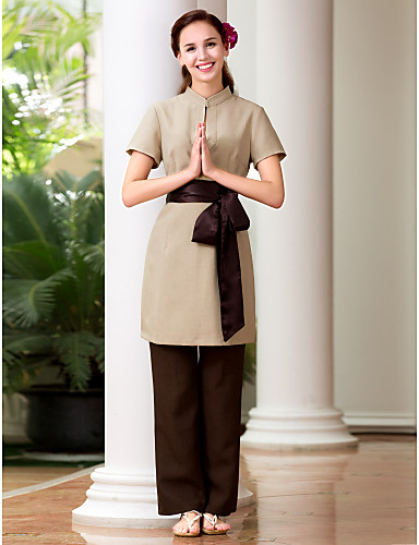 Spa uniforms women s short sleeve mandarin collar spa for Uniform spa salon