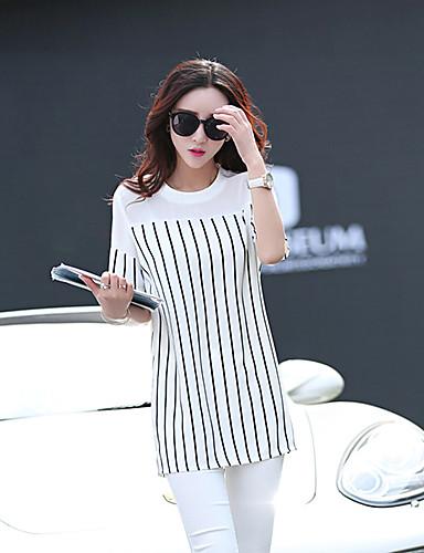Buy Women's Casual/Daily Simple / Street chic Summer T-shirt,Striped Short Sleeve White Black Medium