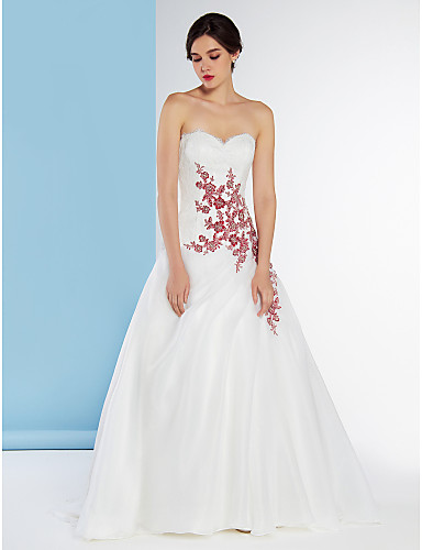 A line sweetheart sweep brush train lace organza wedding for Wedding dress shipping box