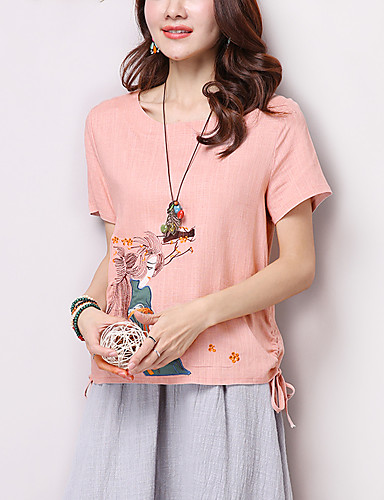 Buy Women's Print Pink / White Blouse,Casual/Daily /Simple Embroidered Round Neck Short Sleeve Loose T-shirt Cotton/Linen