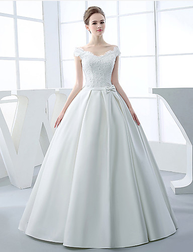 Buy A-line Wedding Dress Floor-length V-neck Satin Appliques / Beading Bow