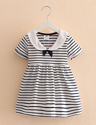 Buy Baby Kid Girls Short Sleeve One Piece Dress Blue Striped Bowknot Tutu Dresses Summer Style