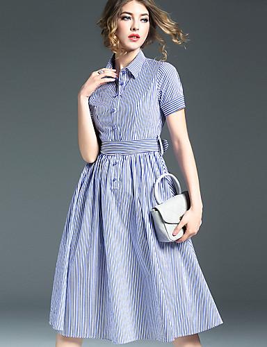 Buy KMDM Women's Simple Striped Loose Dress,Shirt Collar Knee-length Nylon
