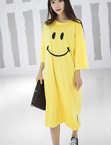 Women 39 S Going Out Simple T Shirt Dress Print Round Neck
