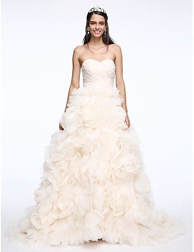 A line sweetheart court train organza wedding dress with for Wedding dress shipping box