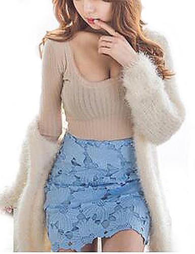 Women Sexy Cotton Deep U Neck Long Sleeve T Shirt 5300856