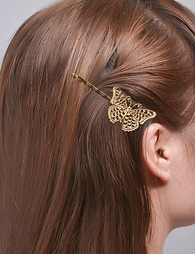 Women Fashion Plated Rose Gold Alloy Clip Natural Style Girls Hair Clip Hollo