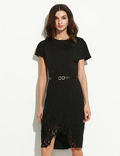 gaine robe femme sortie grandes tailles sophistiqu couleur pleine col arrondi mi long manches. Black Bedroom Furniture Sets. Home Design Ideas