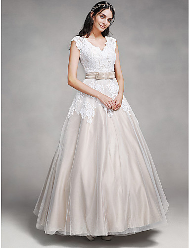 A line v neck ankle length lace satin tulle wedding dress for Lace ankle length wedding dress
