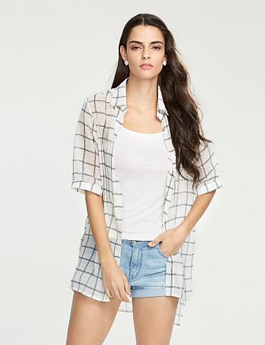 chemise femme damier plage chic de rue et col de chemise soie polyester fin de 4961490 2017. Black Bedroom Furniture Sets. Home Design Ideas