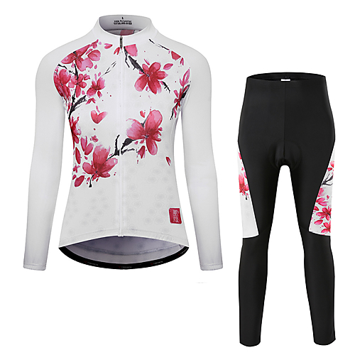 Women s Long Sleeve Cycling Jersey with Tights - White Bike Clothing Suit 9076da692
