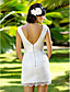 Lanting Bride® Sheath / Column Petite / Plus Sizes Wedding Dress - Chic & Modern / Glamorous & Dramatic / Reception Short / Mini V-neck