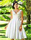Lanting Bride A-line / Princess Petite / Plus Sizes Wedding Dress-Knee-length V-neck Taffeta