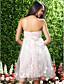 Tot de knie Satijn / Tule Bruidsmeisjesjurk A-lijn / Prinses Strapless Grote maten / Petite met Bloem(en)
