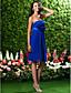 Knee-length Chiffon Bridesmaid Dress - Royal Blue Plus Sizes Sheath/Column Strapless