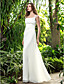 Lanting Bride® A-linje Petit / Plus Størrelser Brudekjole - Chic og moderne / Receptionskjoler Gulvlang Firkantet Silkegeorgette med