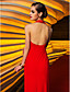 TS Couture Formal Evening Military Ball Dress - Open Back Celebrity Style Sheath / Column Halter Floor-length Jersey with Pleats