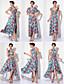 TS Couture Schoolbal Formele avonden Jurk - Transformeerbare jurk Strak/kolom V-hals Over de knie Gebreid met Patroon / Print Plooien