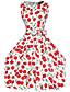 Robe Femme Soirée / Cocktail Vintage,Imprimé Bateau Mi-long Sans Manches Blanc Noir Coton Toutes les Saisons Micro-élastique Fin