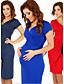 Sukienka - Obuwie damskie Przed kolano - Krótki rękaw - Okrągły dekolt