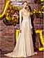 A-Line Scoop Neck Sweep / Brush Train Chiffon Formal Evening Dress with Flower(s) Side Draping by TS Couture®