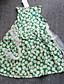 Kız Çiçekli Polyester Yaz Yeşil / Kırmızı Elbise