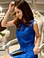 dabuwawa Frauen feste blaue Bluse, Rundhalsausschnitt ärmel