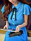 Robe Aux femmes Trapèze Street Chic,Couleur Pleine Col de Chemise Midi Polyester