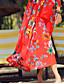 Balançoire Robe Plage Sexy Bohème,Fleur Bateau Maxi Manches Longues Rouge Polyester Eté Taille Haute