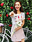 Wake Up ® Damen Rundhalsausschnitt Kurze Ärmel Shirt & Bluse Rosa-XFS16153