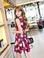 Kvinders Simpel I-byen-tøj A-linje Kjole Blomstret,U-hals Over knæet Uden ærmer Rød Polyester Sommer