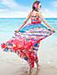 Dames Strand / Vakantie Boho Chiffon Jurk Print-Bandje Maxi Mouwloos Rood Polyester Zomer Hoge taille Micro-elastisch