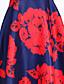 A 라인 드레스 빈티지 플로럴,라운드 넥 미디 민소매 레드 실크 봄 높은 밑위 약간의 신축성