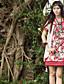 1/2 ærmelængde Høj krave Medium Kvinders Hvid Broderi Forår / Efterår Kineseri I-byen-tøj Skjorte,Polyester