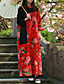 Feminino Swing Vestido,Casual Chinoiserie Floral Colarinho Chinês Longo Manga Longa Vermelho Algodão / Linho Primavera / OutonoCintura